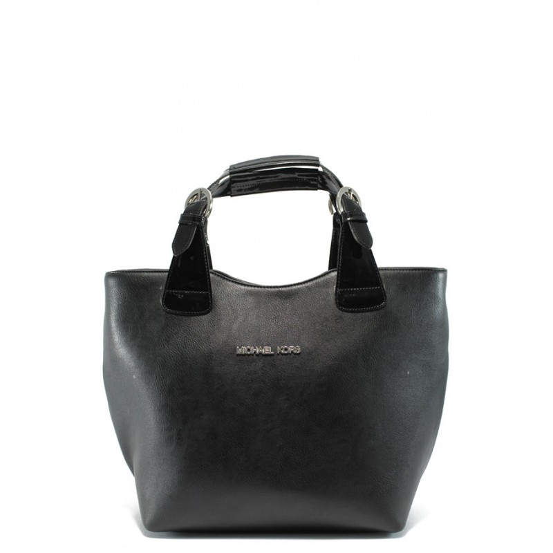 a1c8693809e Стилна дамска чанта СБ 1130 черна гладка кожа