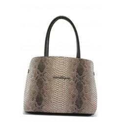 Стилна дамска чанта СБ 1157 бежова анаконда