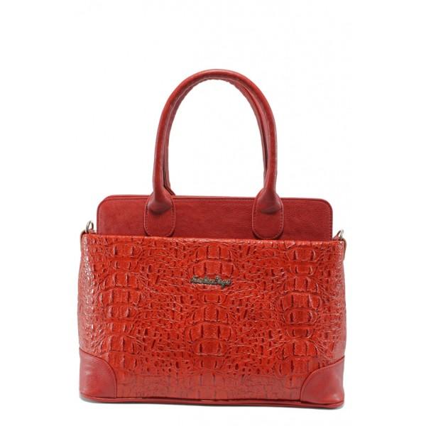 Българска дамска чанта СБ 1158 червен кроко
