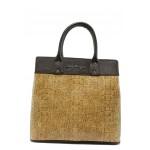 Стилна дамска чанта СБ 1122 св.кафяв кроко