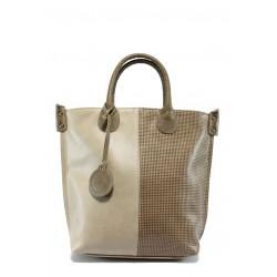 Дамска чанта бежова кожа с точки СБ 1129 бежов точки