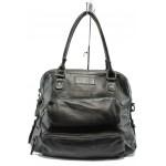 Българска дамска чанта от естествена кожа ИО 2 черна опушена
