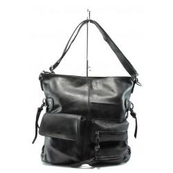 Дамска чанта от естествена кожа ИО 3 черен