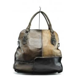 Дамска чанта от естествена кожа ИО 12 т.кафяв