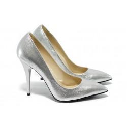 Дамски елегантни обувки на висок ток МИ 2015 сребрист сатен