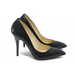 Дамски елегантни обувки на висок ток МИ 2015 черен сатен