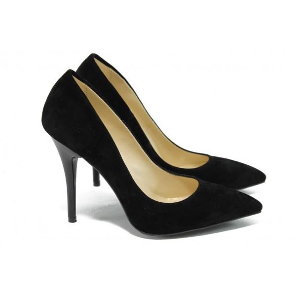 Дамски елегантни обувки на висок ток МИ 2015 черен велур