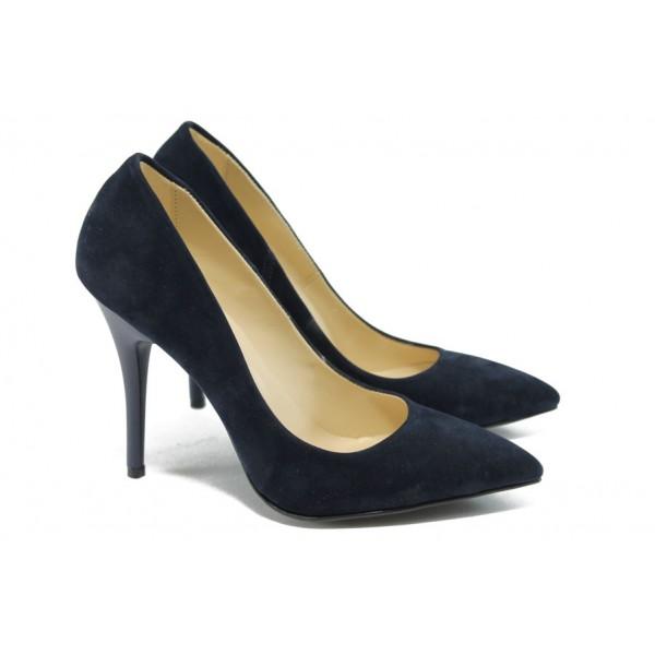 Дамски елегантни обувки на висок ток МИ 2015 син велур