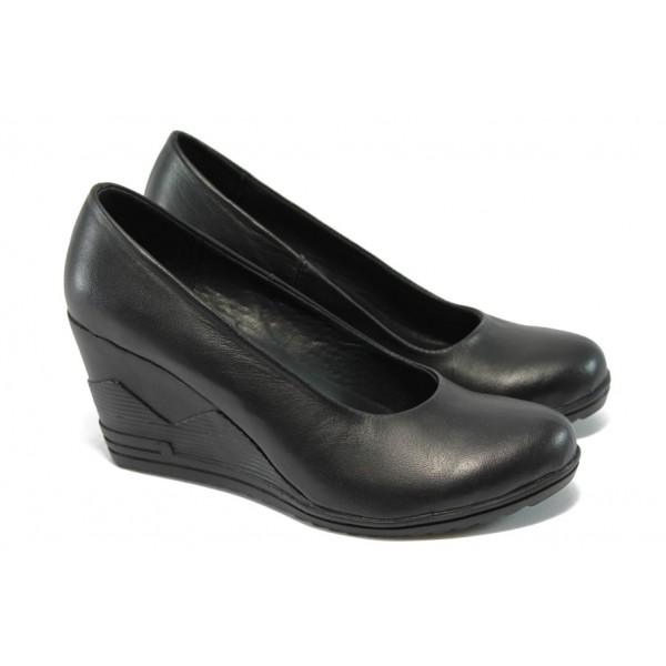 Анатомични дамски обувки от естествена кожа НЛ 165-15462 черен