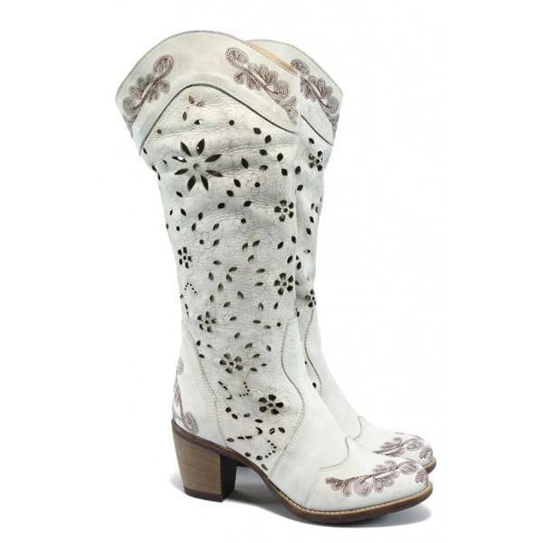 Дамски летни ботуши естествена кожа ИО 1290 опушен бял