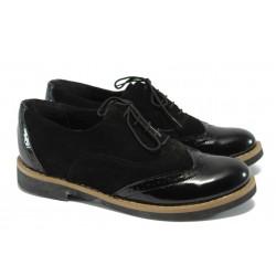 Ортопедични дамски обувки от естествен велур НБ 5122-663 черен велур-лак