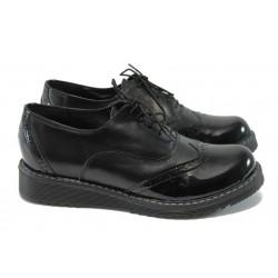 Дамски ортопедични обувки от естествена кожа НБ 32338-663 черен лак