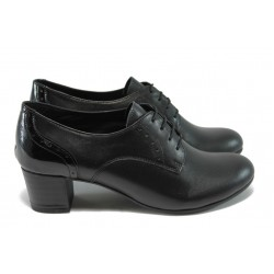 Ортопедични обувки с връзки, от естествена кожа НБ 14277-857 черен