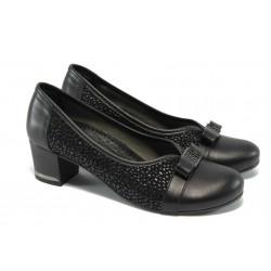 Анатомични дамски обувки от естествена кожа МИ 161-405 черен