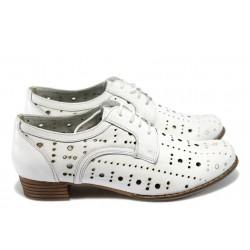 Дамски ортопедични обувки от естествена кожа НБ 01-906 бели