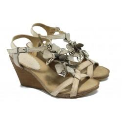 Дамски сандали от естествена кожа на платформа ИО 1278 бежов