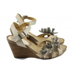Дамски сандали от естествена кожа на платформа ИО 1364 бежов