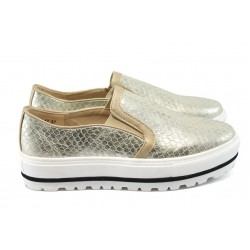 Дамски обувки на платформа Runners 1106 бежов