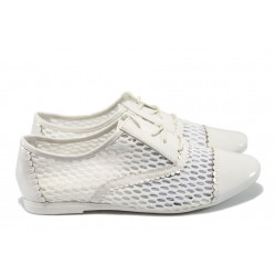 Дамски дантелени обувки Runners J27 бели