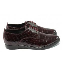 Анатомични дамски обувки от естествена кожа - лак НБ 56175-853 бордо