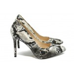 Дамски елегантни обувки на висок ток ПИ 305 черна змия