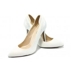 Дамски елегантни обувки на висок ток ПИ 15341 бели