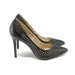 Дамски обувки на висок ток с перфорации ПИ 305 черен