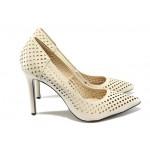 Дамски обувки на висок ток с перфорации ПИ 305 бежов