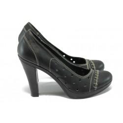 Анатомични дамски обувки от естествена кожа НЛ 140-7976 черен