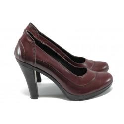 Анатомични дамски обувки на висок ток НЛ 199-7976 бордо