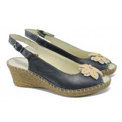 Дамски ортопедични сандали от естествена кожа ГР 513327 т.син