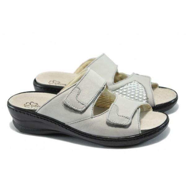 Дамски ортопедични чехли от естествена кожа ГР 103467 сив