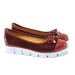 Равни дамски обувки с модерно ходило МИ 425 бордо