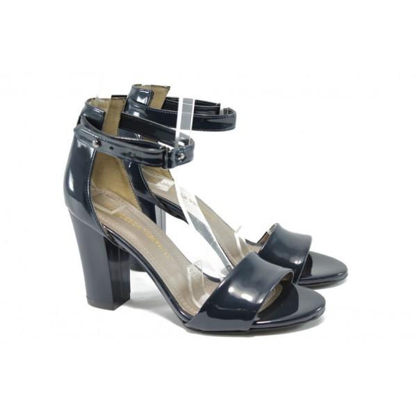 Дамски сандали на висок ток МИ 143 син лак
