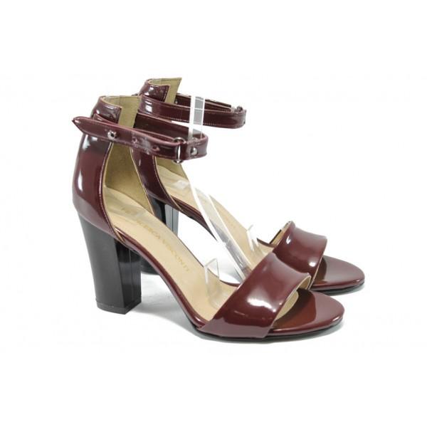 Дамски сандали на висок ток МИ 143 бордо лак