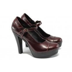 Анатомични дамски обувки от естествена кожа НЛ 200-7903 бордо