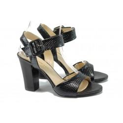 """Дамски сандали на висок ток с """"кроко"""" мотив МИ 146 черен"""