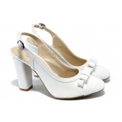 Дамски лачени обувки на висок ток МИ 171 бели