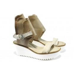 Анатомични дамски сандали от естествен набук ИО 1598 бежов