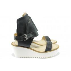 Анатомични дамски сандали от естествен набук ИО 1598 черен