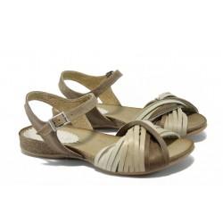 Анатомични дамски сандали от естествена кожа ИО 1579 бежов
