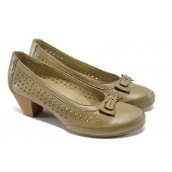 Дамски ортопедични обувки от естествена кожа НБ 12200-908 т.бежов