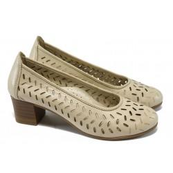 Анатомични дамски обувки от естествена кожа НБ 1504-916 бежов