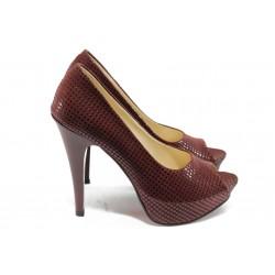 Дамски елегантни обувки на висок ток МИ 1701 бордо точки