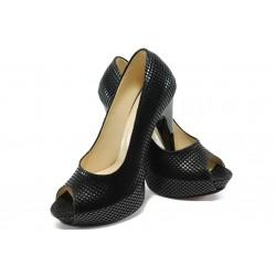 Дамски елегантни обувки на висок ток МИ 1701 черни точки
