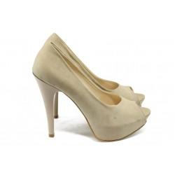 Дамски елегантни обувки на висок ток МИ 1701 бежов