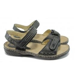 Български анатомични сандали от естествена кожа ГР 9012 черен