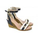 Дамски сандали от естествена кожа МИ 320 син