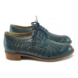 Дамски ортопедични обувки от естествена кожа НБ 1011-906 син