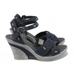 Български анатомични сандали на ток МЙ 24164 т.сини